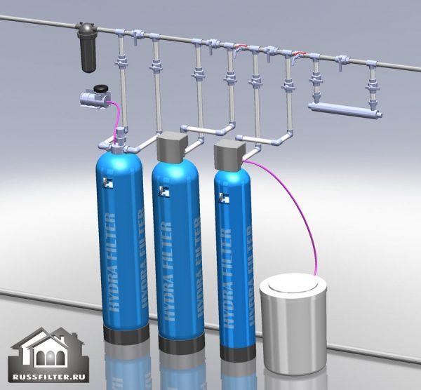 Водоподготовка для коттеджа #10. 2500 л/час (4-6 одновременно открытых крана) Растворенное железо до 5 мг/л